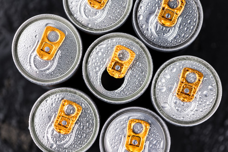 Some fresh Energy Drinks on a vintage slate slab, selective focus, close-up shot