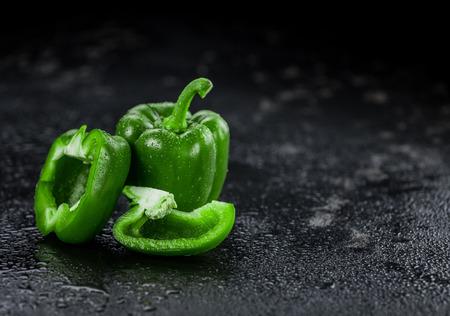 Slate slab with Green paprika (selective focus; close-up shot) Stockfoto