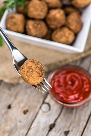 Portion of fresh homemade Meatballs (selective focus; close-up shot) Stock Photo