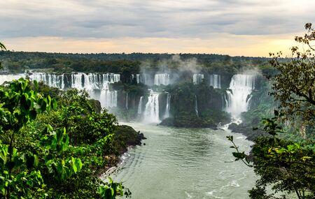Iguazu Falls in South America during sunset (brasilian side) Stock Photo
