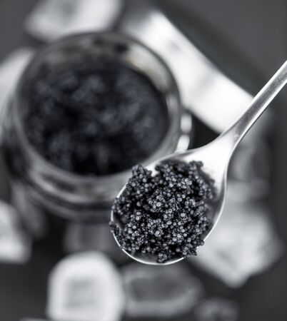 Portion of Black Caviar as detailed close-up shot; selective focus Stock Photo