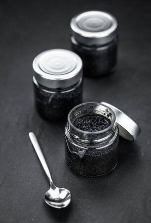 Caviar on a vintage looking slate slab (selective focus)