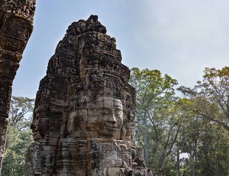 Bayon temple with it's face statues in Ankor Wat, Cambodia