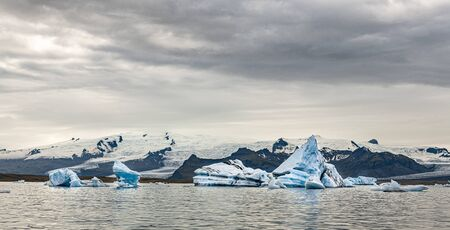 Blue icebergs in the Jokulsarlon Glacier Lagoon (Iceland)