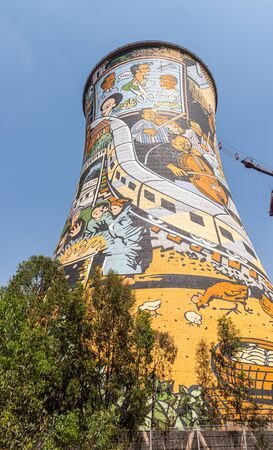 Power Station Cooling Tower in Soweto Townships ,Johannesburg, South Africa at a sunny day