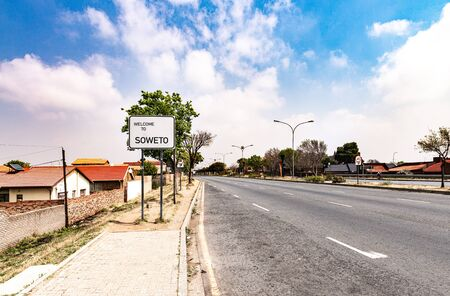 Soweto Townships town sign in Johannesburg, South Africa at a sunny day Stock Photo