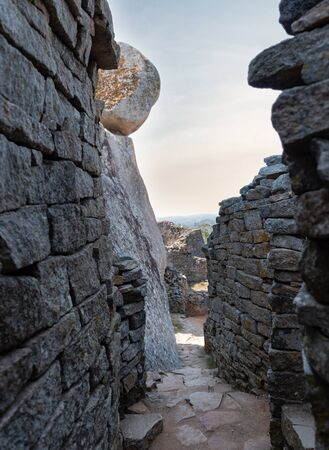 Ancient ruins of Great Zimbabwe during a nice winter day