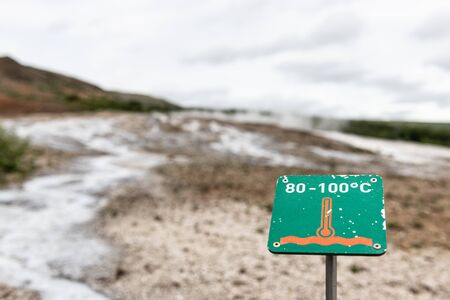 High temperature warning sign in Haukadalur geothermal, Iceland