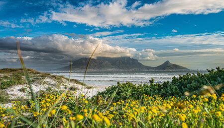 Cape Town view from Bloubergstrand during sunset, South Africa Stock Photo