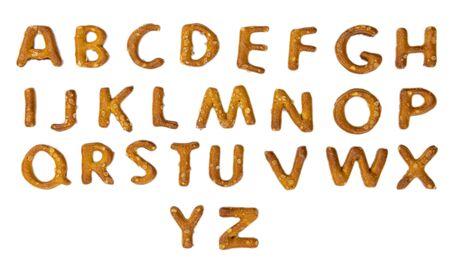 Pretzel Alphabet isolated on white background (close up shot)