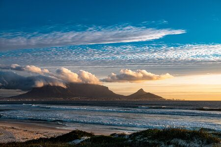 Cape Town view from Bloubergstrand during sunset, South Africa