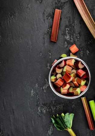Chopped Rhubarb as detailed close up shot (selective focus) Imagens