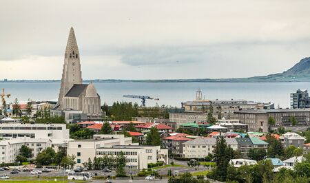 Reykjavik panorama shot from the Perlan observation deck during a cloudy summer day