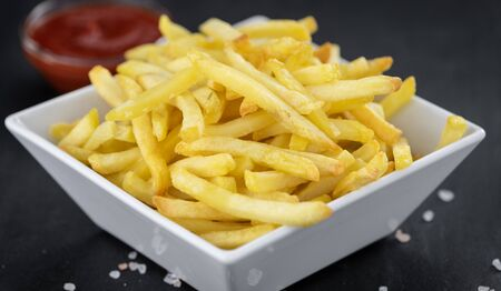 Portion of homemade French Fries (close-up shot; selective focus) 版權商用圖片