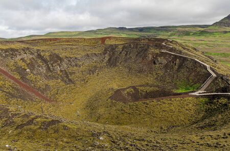 The Grabrok Volcano Crater in the western region of Iceland