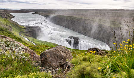 Majestic Gullfoss waterfall in Iceland along the golden circle