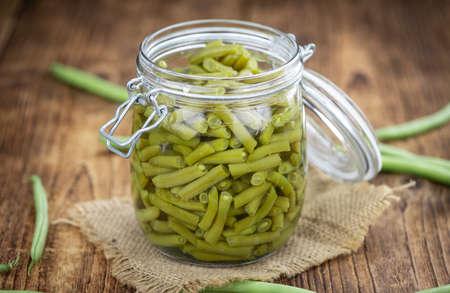 Portion of canned Green Beans (close-up shot; selective focus) Reklamní fotografie
