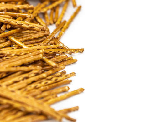 Some fresh made Sal Sticks as detailed close up shot isolated on white background Reklamní fotografie