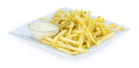 Homemade crispy French Fries isolated on white background (close-up shot)