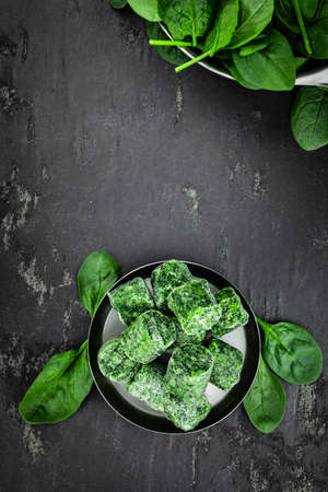 Portion of frozen spinach as detailed close up shot (selective focus)
