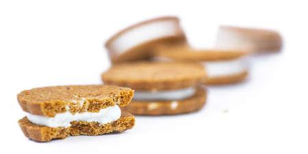 Hazelnut Cream Cookies isolated on white background (close up shot) Reklamní fotografie