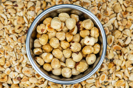 Freshly chopped Hazelnuts for use as background image or as texture