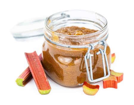 Portion of homemade Rhubarb Jam isolated on white background (close up shot) Reklamní fotografie