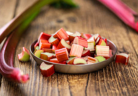 Freshly chopped Rhubarb as detailed close up shot (selective focus)