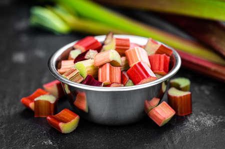 Chopped Rhubarb as detailed close up shot (selective focus) Reklamní fotografie