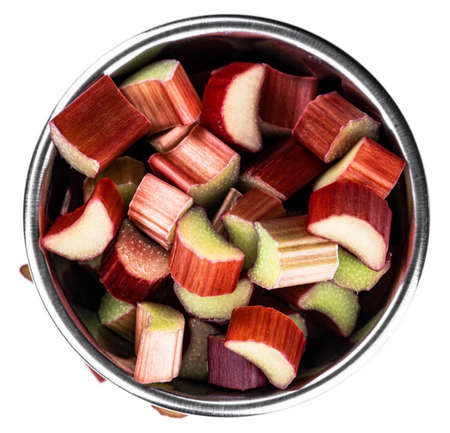 Freshly chopped Rhubarb isolated on white background as detailed close up shot