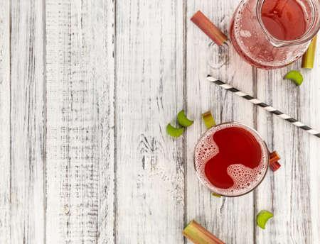 Homemade Rhubarb Spritzer as detailed close up shot (selective focus)