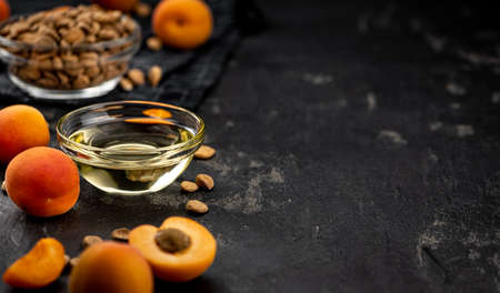 Some Apricot Kernel Oil as detailed close up shot (selective focus)