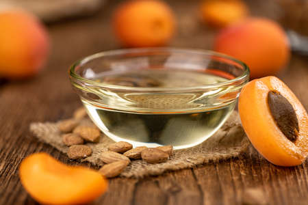 Apricot Kernel Oil as detailed close up shot (selective focus)