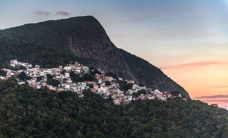 Favela Vidigal in Rio de Janeiro during sunset, aerial shot from a helicotper Reklamní fotografie