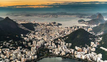 Rio de Janeiro aerial shot during sunset made from a helicopter Reklamní fotografie