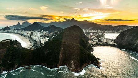 Copacabana Beach in Rio de Janeiro aerial shot during sunset Reklamní fotografie