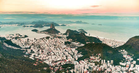 Rio de Janeiro aerial shot made from a helicopter (during sunset)