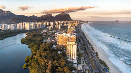 Rio de Janeiro aerial view shot from a helicopter during a wonderful sunset