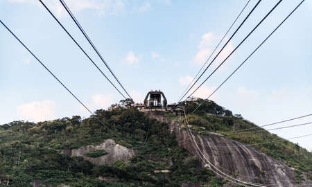 Cableway to the Sugarloaf hill in Rio de Janeiro at a sunny day