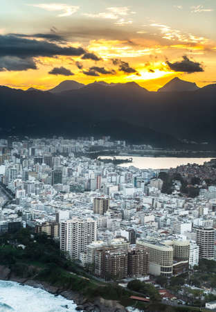 Sunset in Rio de Janeiro, aerial shot from a helicopter Redakční