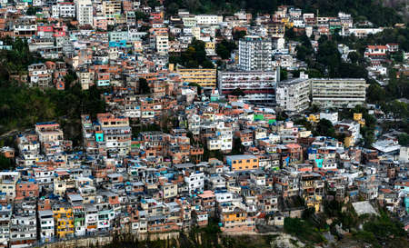 Favela Vidigal in Rio de Janeiro during sunset, aerial shot from a helicotper Redakční