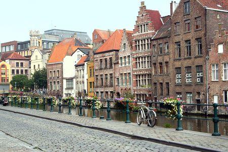 gent: Riverside in Gent, Belgium Stock Photo