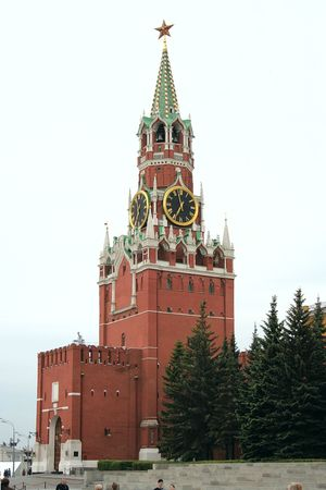communists: Spasskaya Tower, Red Square, Moscow, Russia Stock Photo