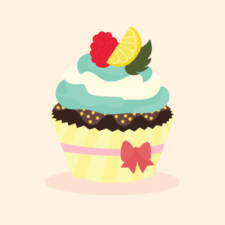 Cute and delicious cupcake with toppings, vector illustration.