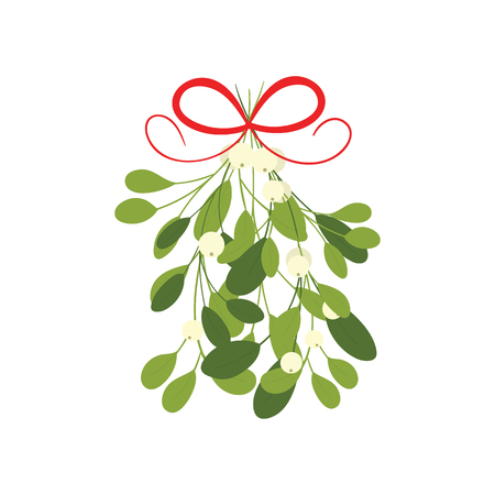 Mistletoe with red bow and curly ribbon, isolated on white illustration.