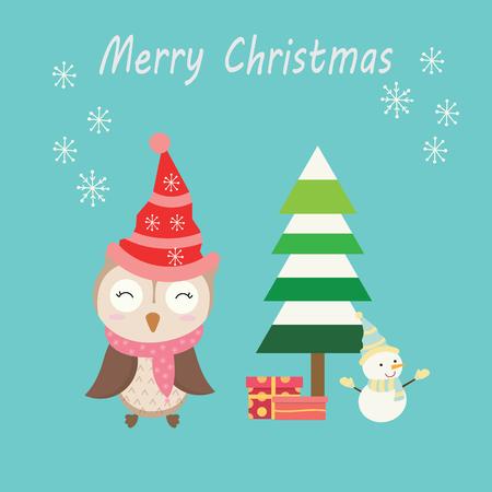 cute christmas owl animal vector illustration Illustration