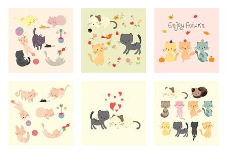 set of cute cat vector