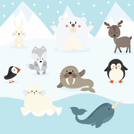 Cute arctic animal set illustration.