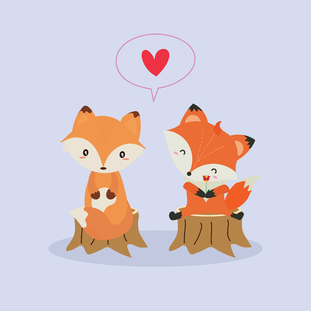Cute fox in love illustration.