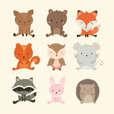 Set of cute illustration of woodland animal.